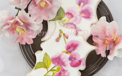 Hand Painted Royal Icing Sweet Pea Cookies 🌸🌱🖌️🎨