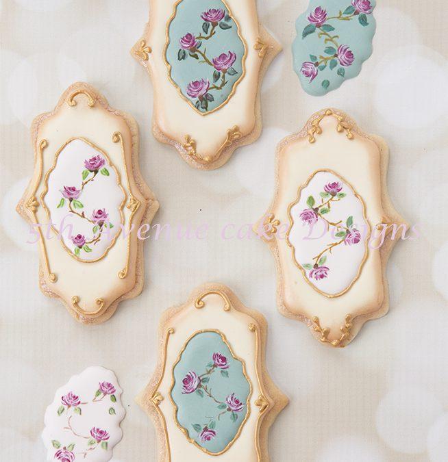 Hand Painted Vintage Rose Cookies